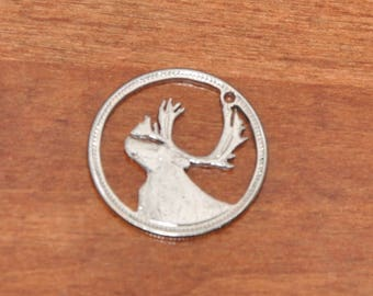 Caribou. Canadian Moose Cut coin pendant necklace charm by invicia