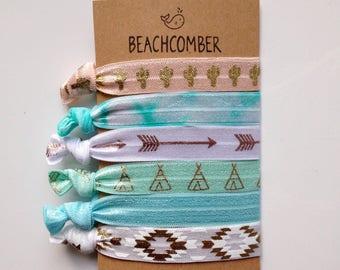 hair tie bracelets, beach bracelets, boho jewelry, beach accessory, friendship bracelets, aztec bracelet, girl gift