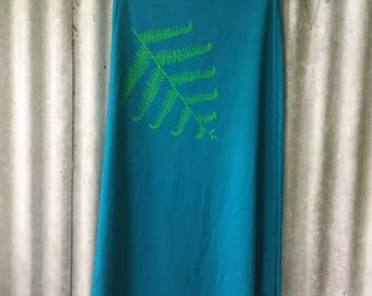 Bamboo and Organic Cotton Screenprinted Fern Leaf Skirt with Fold Down Waistband Size S