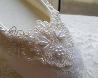 Wedding Ivory Flats  Vegan Shoes Embellished with hand sewn BEADS appliques, Comfortable Slipper Style, Lace covered Flats, Reception Shoes