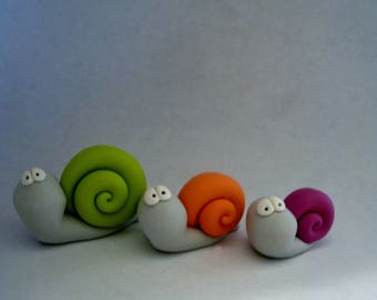 Snail Trio - Polymer Clay - Halloween - Figurines