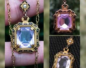 Antique Synthetic Alexandrite, Enamel, and Seed Pearl Lavalier Necklace