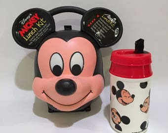 Vintage Disney Mickey Mouse Lunch Kit Water Bottle by Aladdin