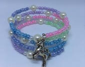 Unicorn Charm Pastel Rainbow glass seed bead and Pearl Memory Wire Bracelet Gift for her Ladies Jewellery Gifts Handmade Bracelet