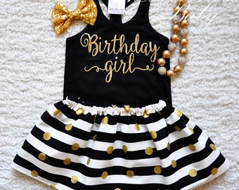Girls Birthday Outfit, black gold birthday outfit, Birthday Girl shirt, 1st birthday 2nd birthday, birthday skirt, gold birthday shirt, 3rd