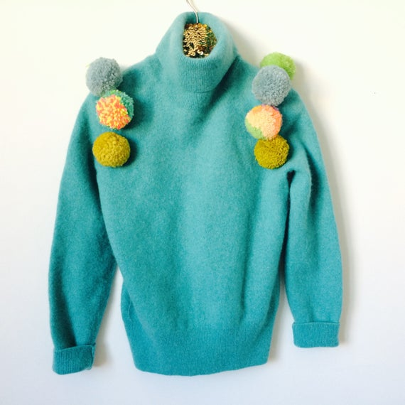 ROLL Kids 6-7 Years Jumper Sweater Top in Cashmere with Pom Poms Handmade Upcycled Unisex