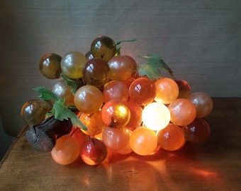 Retro Acrylic Grape Light, Vintage Amber Lucite Grape Cluster Swag Lamp, 1960's Mid Century Kitsch, Boho Bohemian Decor