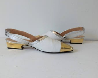 Vintage white and gold and silver slingbacks shoes, weddings shoes, size 8.5 / EU 39
