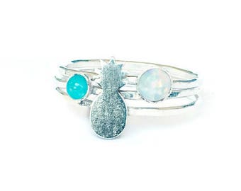 pineapple stacking rings, opal rings, turquoise rings, sterling silver rings, pineapple jewelry, pineapple accessory, white opal ring