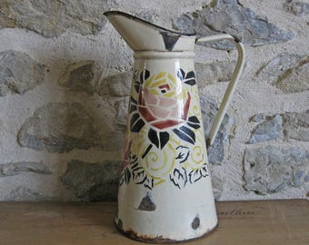 French enamel pitcher, tall Art Deco jug with pink rose design