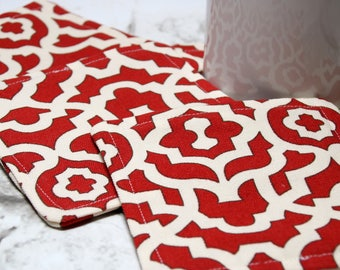 Red Medallion Fabric Coasters, Set of 4