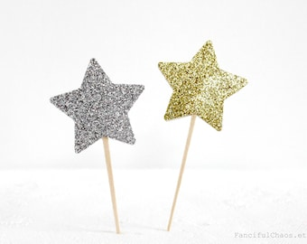 12 Gold and Silver Glitter Star Cupcake Toppers, Baby Girl 1st Birthday, Baby Boy Little Man First Birthday, Twinkle Star Party Decorations