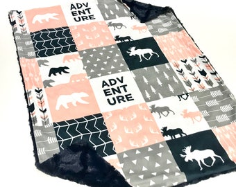 Pink Deer Baby Blanket, Pink Bear Girl Minky Baby Blanket, Pink Grey and Navy Adventure Baby Blanket, Ready to Ship Baby Blanket, Woodland