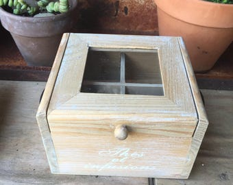 "Wooden Four Chamber Box with Window Lid, marked ""Thes et Infusion"""