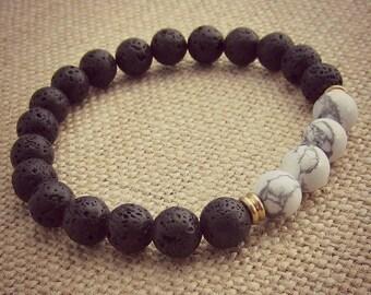Lava Stone Bracelet • Aromatherapy • White Howlite • Oil Diffuser Stone • Aromatherapy Bracelet • Essential Oil Bracelet • Healing Bracelet