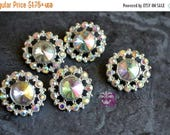 ON SALE Rhinestone Metal Buttons Crystal Clear & AB Iridescent Stones 21mm - Flower Centers - Wedding Bridal Prom Supplies - Wholesale - (01