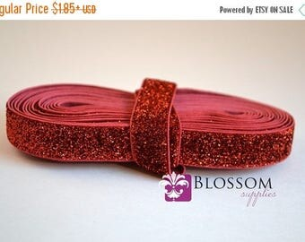 ON SALE 1, 3, or 5 Yard Increments RED Glitter 5/8 Inch Elastic - Baby Headband Elastic - Christmas - Valentine's Day - Patriotic - 4th of J