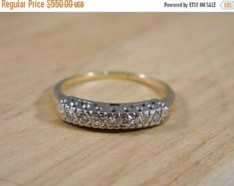 ETSYCIJ Diamond Wedding Band / Vintage 14k Yellow and White Gold / Illusion Wedding Ring Size 7