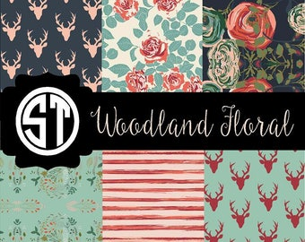 Woodland Floral printed indoor. outdoor, glitter and metallic decal VINYL and heat transfer vinyl HTV and applique FABRIC