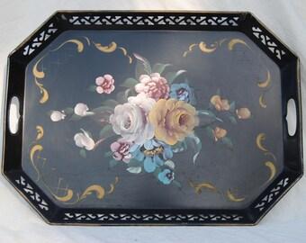 Black metal tole ware floral tray