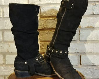Black Suede Slouch boots Womens 7.5 US