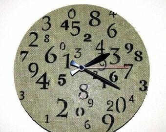 Wall Clock, Burlap Home Decor, Eco Friendly Wall Clock,  Housewares, Home and living,  Wall Decor