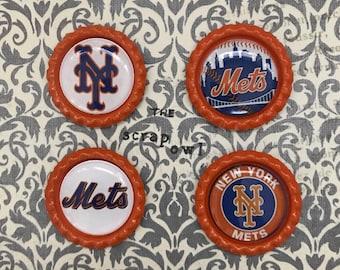 New York Mets Inspired Bottle Cap Magnets