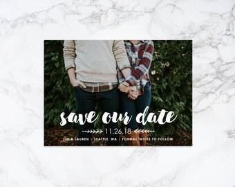 Printable Modern Save the Date Overlay Photo Card Invitation