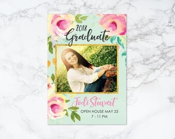 Printable Watercolor Floral with Gold Foil Graduation Announcement