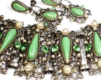 Selro Victorian Revival Rhinestone Cuff Bracelet Earring Set