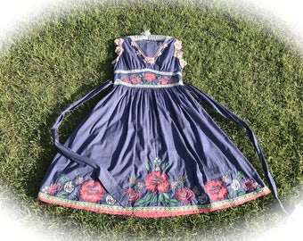 Rustic Lace Embroidered  Dress Floral Blossoms Plum Beauty