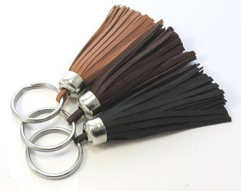 Leather Tassel Keychain in Black, Brown and Saddle Tan - Premium Leather Purse Tassel and Key Ring