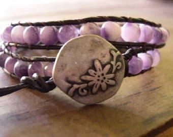 Leather Wrap Bracelet, Beaded Wrap Bracelet, Bohemian Bracelet - 941