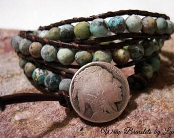 Beaded Leather Wrap Bracelet, Beaded wrap bracelet, Boho Bracelet - 1001