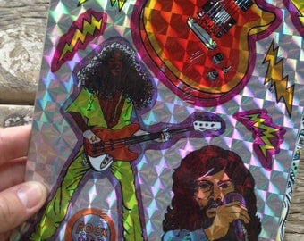 nos 1984 vintage chrome rock n roll stickers by mark I