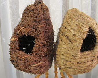 Vintage 90's rustic set of 3  small natural  birds nests-woven and coconut shell