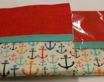 2 Handmade Queen Size Nautical Anchor Pillow Cases