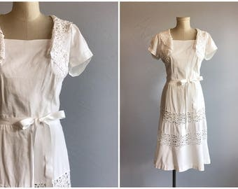 Vintage 1940s Dress / 40s White Cotton Lace Day Dress / Vintage Bride WWII Era