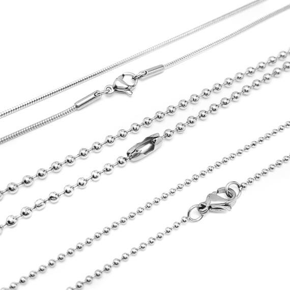 """Stainless Steel Necklace Chain for Custom Charm Necklace - Fine Ball Chain - Thick Ball Chain - Snake Chain - Lengths 16"""" 18"""" 24"""" 30"""""""