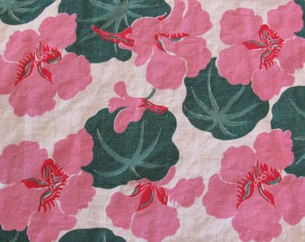 pink and green tropical floral print vintage FULL feedsack fabric