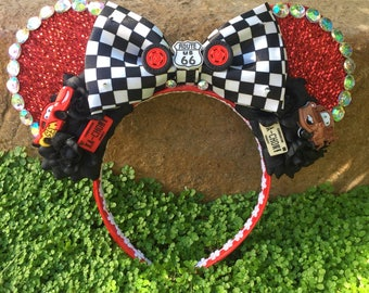 Ready to Ship LED Pixar Cars inspired Mouse Ears Flower Crown Headband Light up Bow with Mater and Lightning McQueen