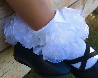Ruffle socks - sheer organza extra full ruffle - many colors available