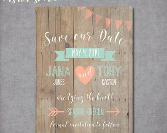 SUMMER SALE Whimsical Rustic Wood Mint and Peach Save the Date Wedding Announcement Invite Printable OR Printed Card 5x7