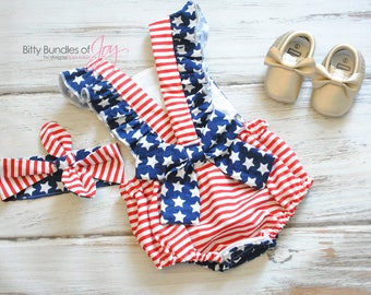 patriotic romper - Fourth of July Outfit - Independence Day Romper - Stars and Stripes Romper - Memorial Day Romper - American Flag Romper