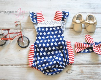 Fourth of July Romper - Patriotic Outfit - Independence Day Romper - Stars and Stripes Romper - Memorial Day Romper - American Flag Romper