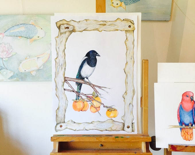 ORIGINAL ART, Magpie Resting on Persimone Branch, by Paula Kuitenbrouwer. Persimone Fruit, Kaki Fruit, Sharonfrucht, Oriental Feel Wall Art