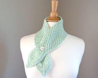 Pistachio Green Neck Warmer Scarf, Merino Wool, Hand Knit Button Scarf with Leaf Ends, Women Teen Girls, Laryngectomy
