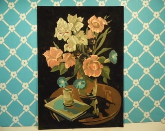 Mid Century Velvet Paint By Numbers - 1960s Floral Painting