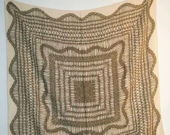 Vintage Basket Weave Silk Crepe Scarf
