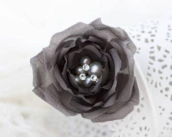 718 Grey hair piece, Bridal hair accessories, Flower clips, Silk pearl clip, Wedding hair clips, Elegant flower hair piece, Hair flowers